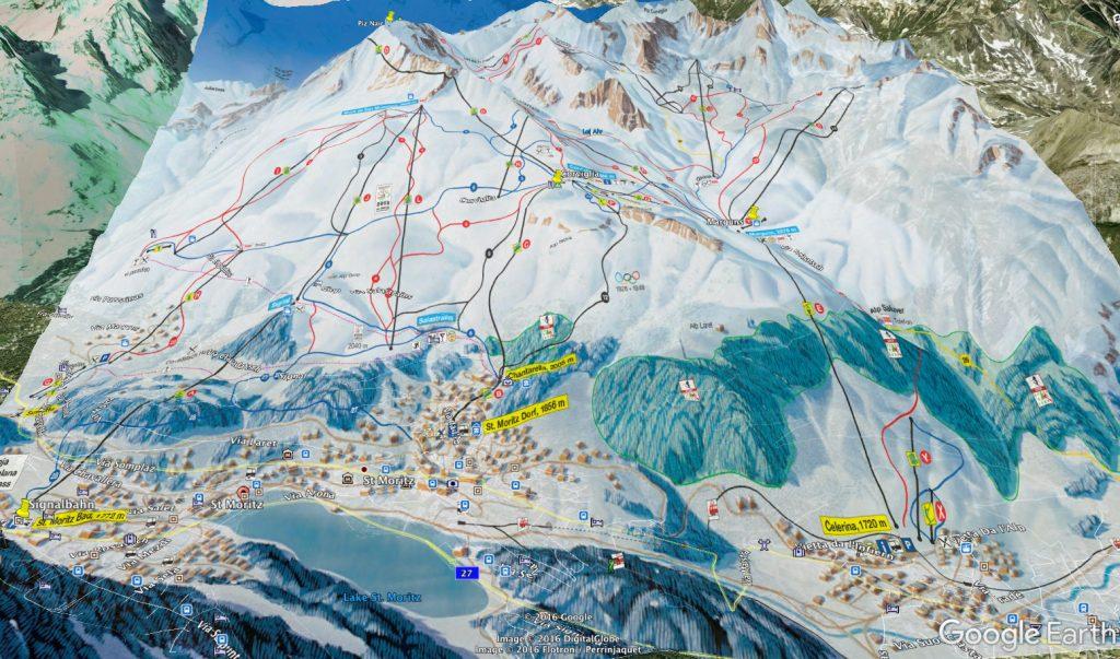 St. Moritz Bölgesinin Google Earth üzerinde pistleri